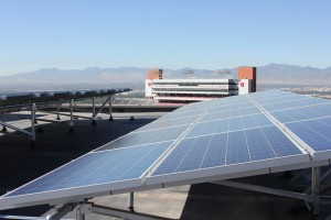 Two of the solar arrays on the west penthouse of the J. Willard Marriott Library, University of Utah.