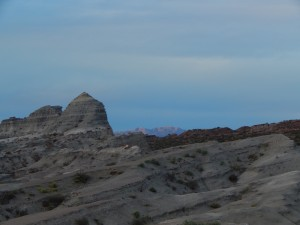 Dusk settles in over badlands of the Chañares Formation in Talampaya National Park, Argentina.