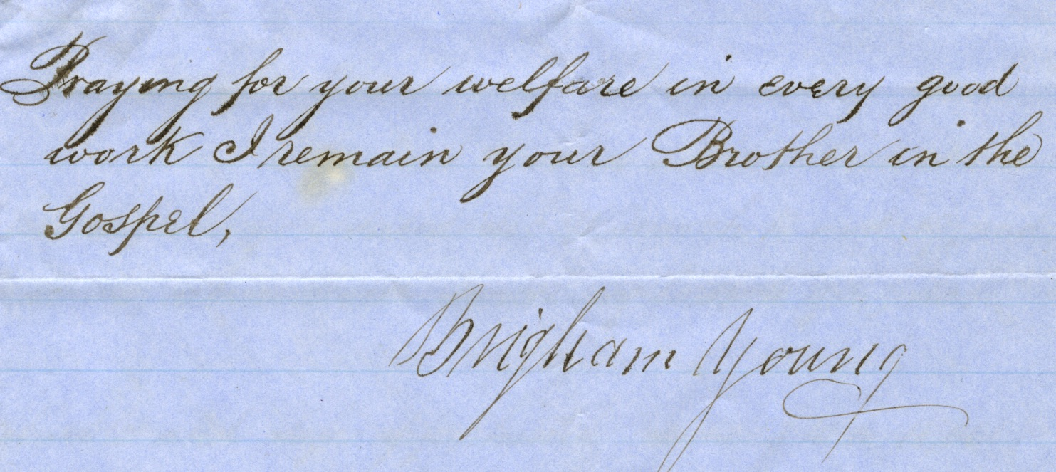 This four-page document dated 1859 contains communications between The Church of Latter-day Saints President Brigham  Young and church elder John W. Coward, with additional instructions for church elders Horace Eldridge and George Q. Cannon related to the migration of 100,000 church members in England and Europe. Coward was located in St. Louis with Eldridge in New York at the time.