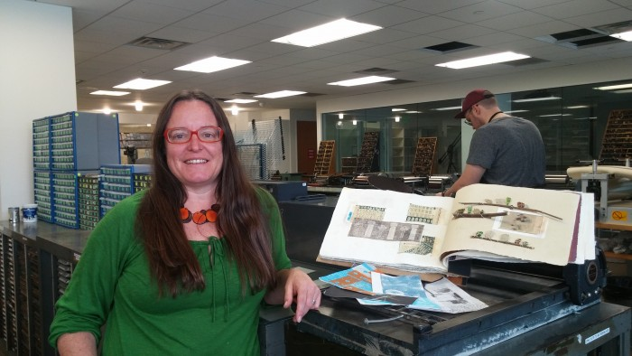 Marnie Powers-Torrey, instructor and managing director of the Book Arts Program, in the book arts studio where the community is invited to participate in the free workshops.