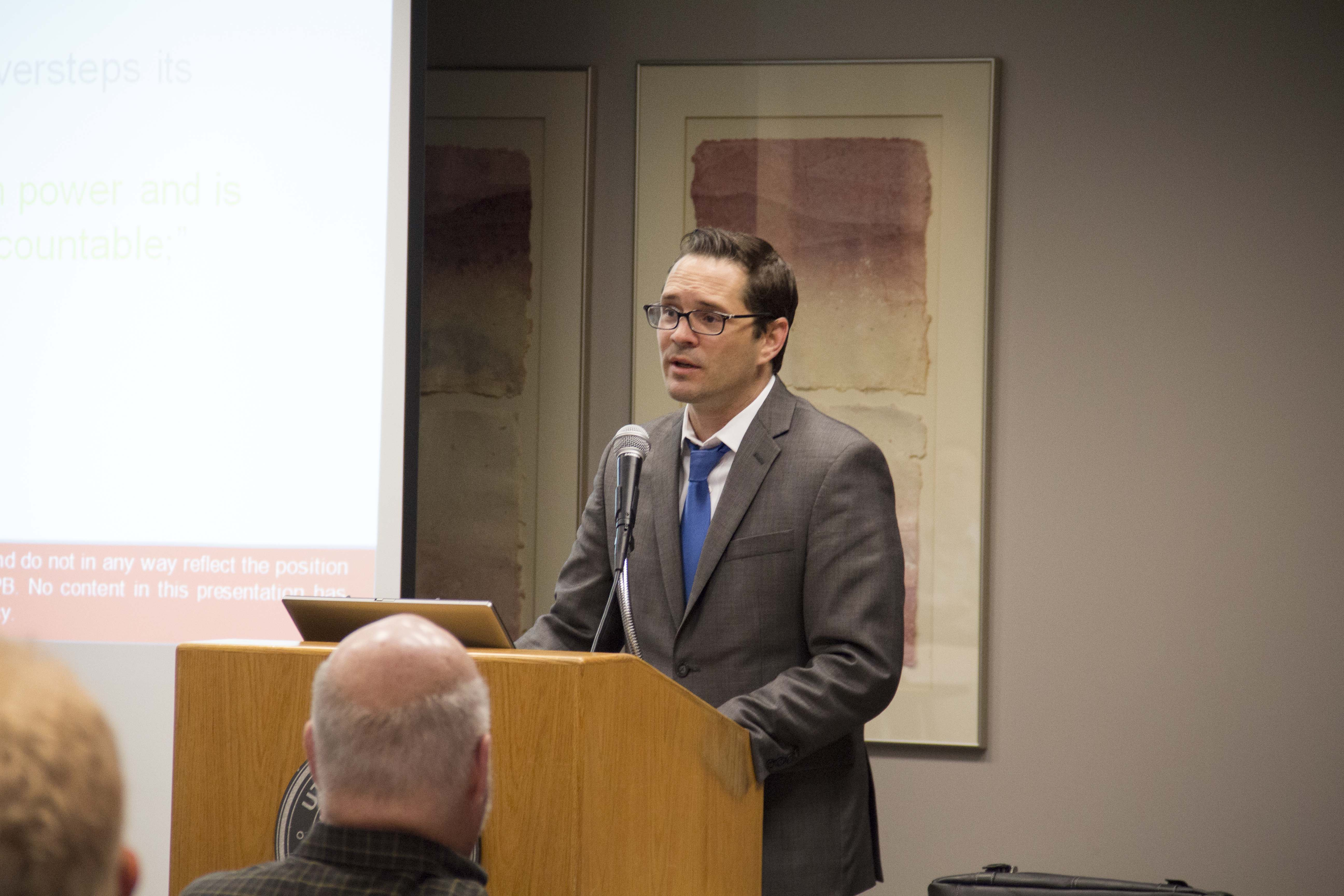 "Christopher L. Peterson, a professor at the S.J. Quinney College of Law, speaks to the Utah State Bar on May 17, 2016 about his new report, ""Consumer Financial Protection Bureau Law Enforcement: An Empirical Review."""
