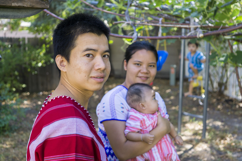 Htwarreh Win with wife Lah Lah; children Mallory, and Samreh