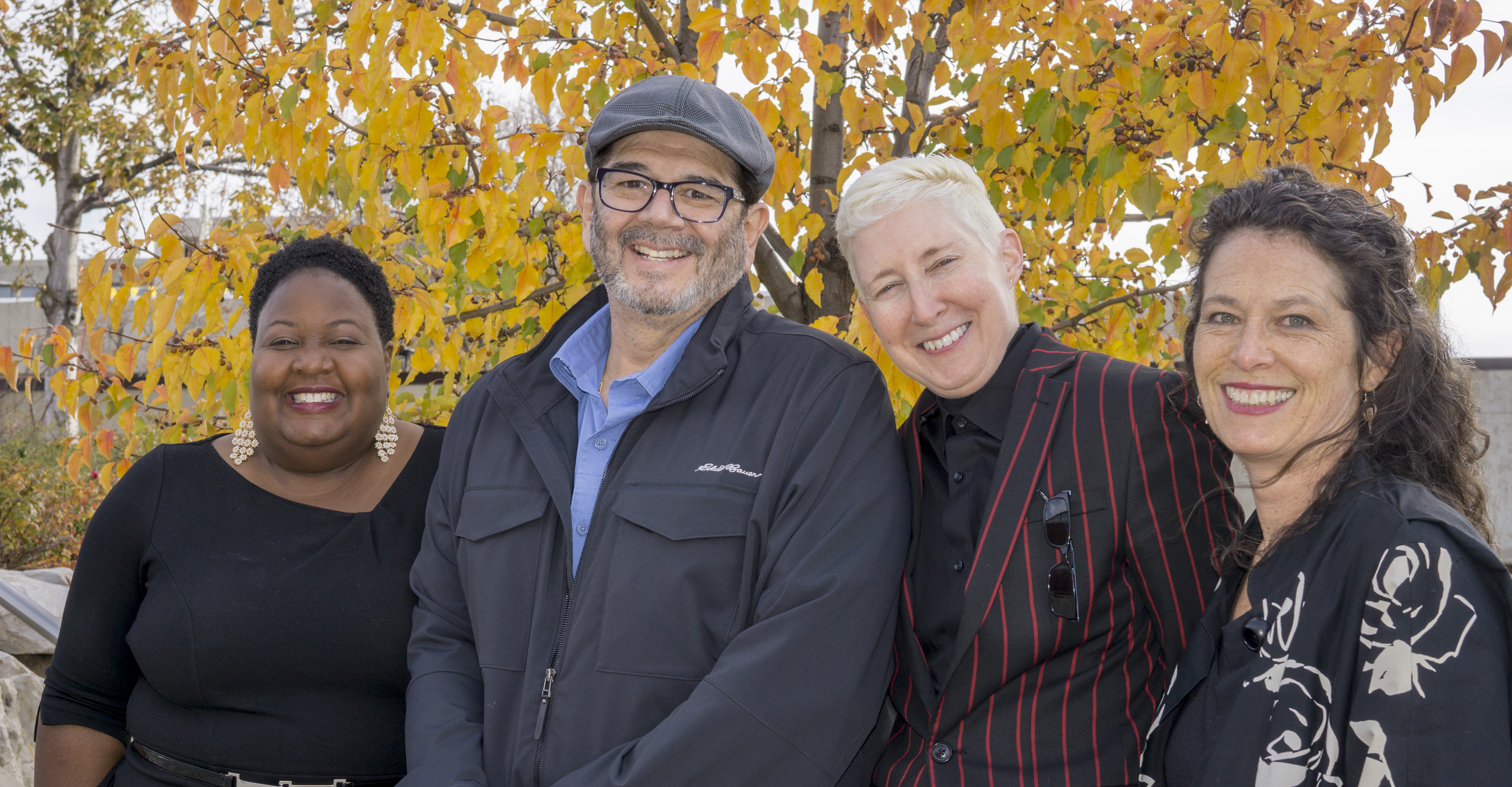 Leadership team for the School of Cultural and Social Transformation (from left: Nicole Robinson, Ed Munoz, Kathryn Bond Stockton, Susie Porter).