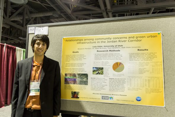 U student Luis Vidal recently presented his research at the Society for the Advancement of Chicanos/Hispanics and Native Americans in Science, or SACNAS, National Conference for Diversity in STEM in Long Beach, California.